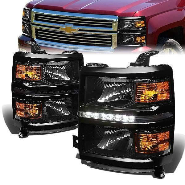 14 15 Chevy Silverado 1500 Led Drl Headlights Black Housing Amber Corner Chevy Silverado 1500 Chevy Silverado Silverado 1500