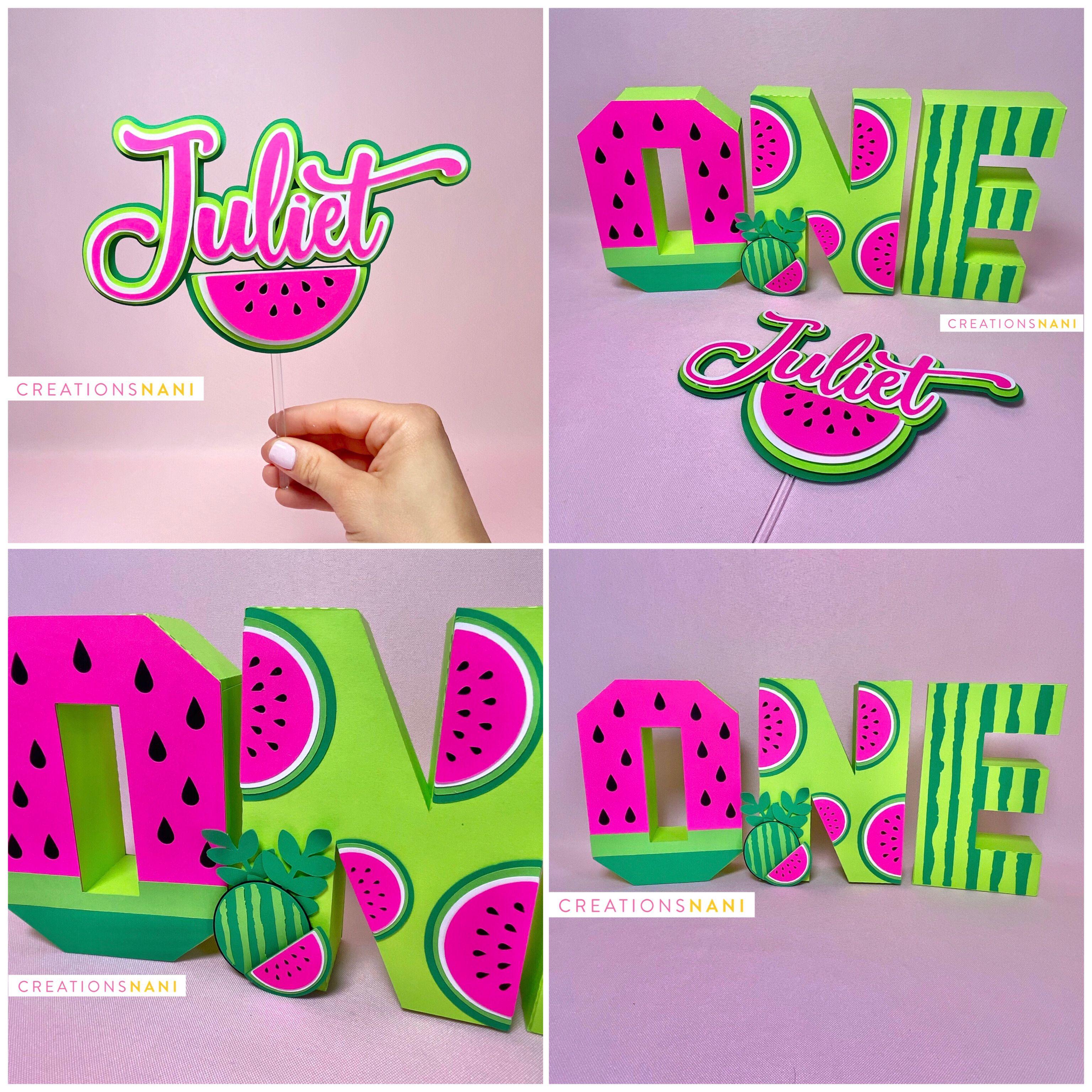 Sandia Halloween Party 2020 Pics Watermelon birthday   3D letter   Sandia cake topper in 2020