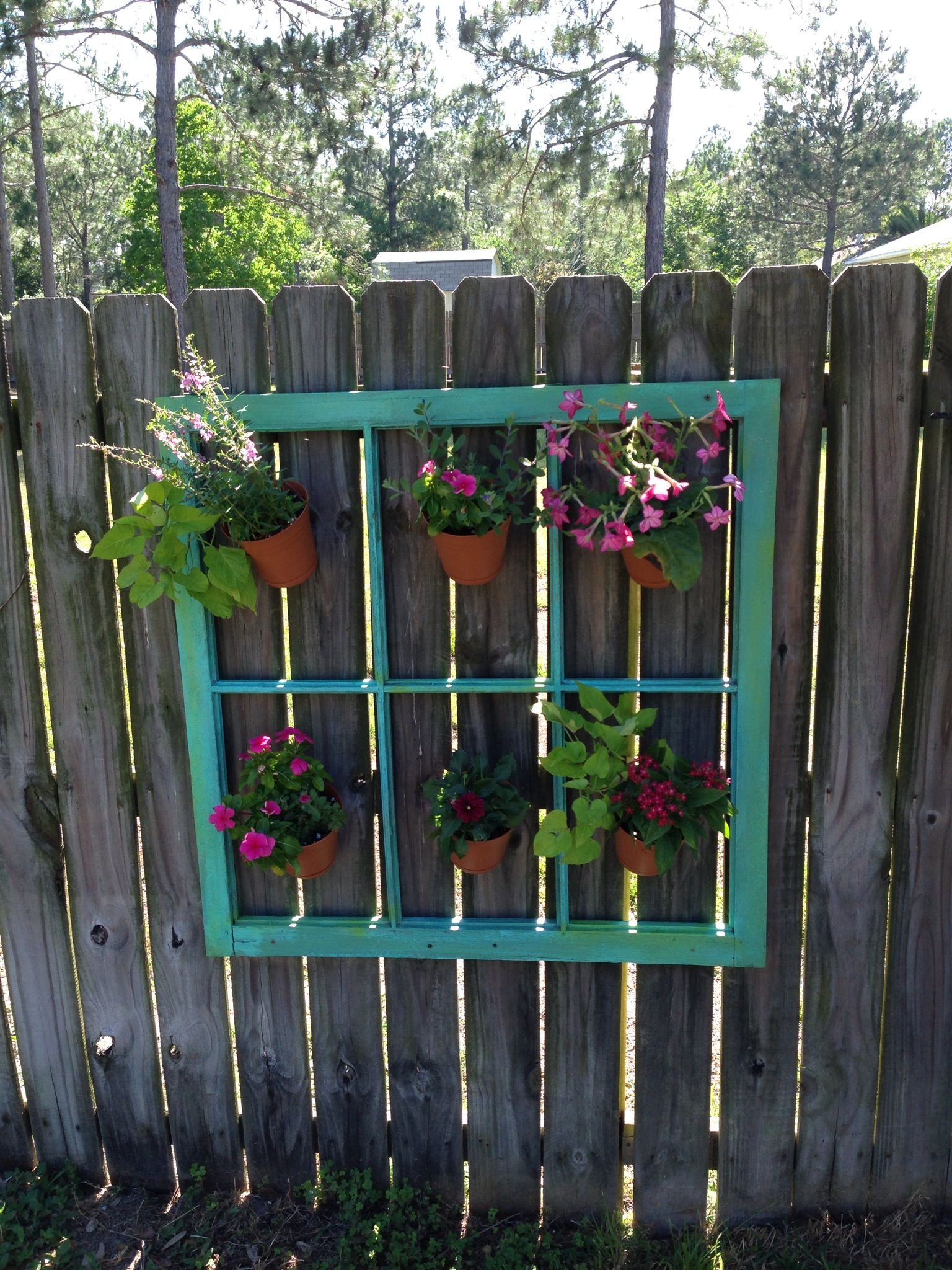 Old Window Frame Decor Old Wooden Window Frame With Flower Pots Flowers And Garden