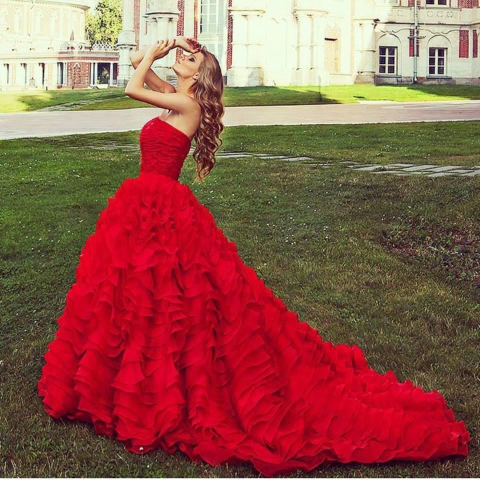 Modest prom dresses luxury organza ruffled prom evening dresses