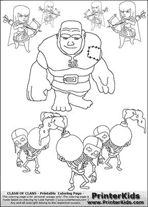 clash of clans - troop group - coloring page | malen und zeichnen, zeichnen und strichzeichnung