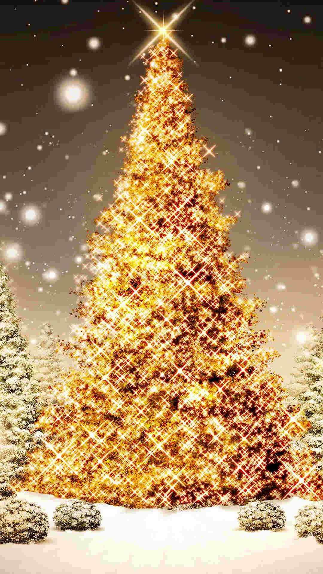 Gold Bling 2014 Christmas Tree Iphone 6 Plus Wallpaper For Girls