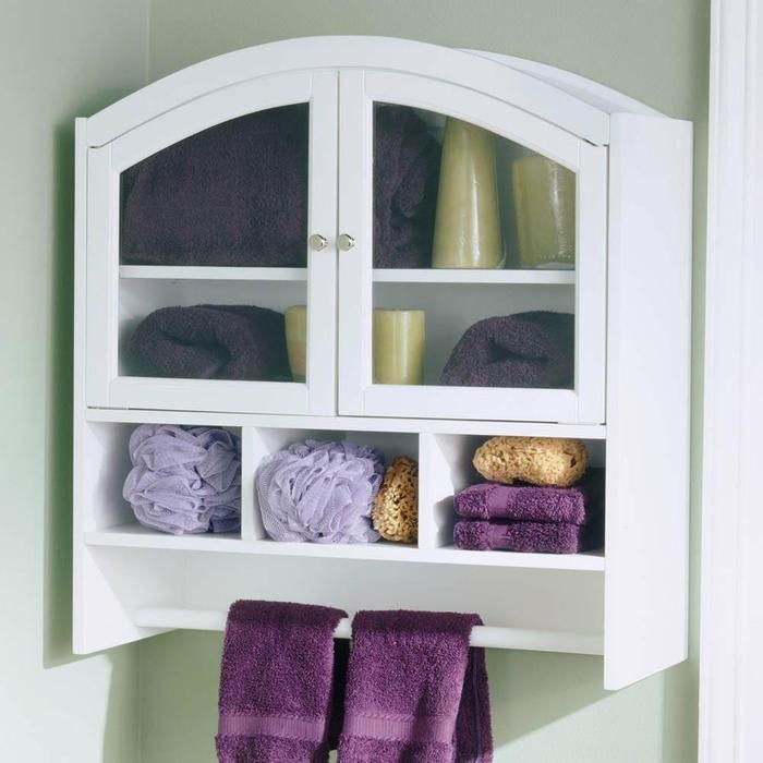 White Arch Top Wall-Mount Over Toilet Cabinet. Bathroom ... - White Arch Top Wall-Mount Over Toilet Cabinet DH - Master BATH