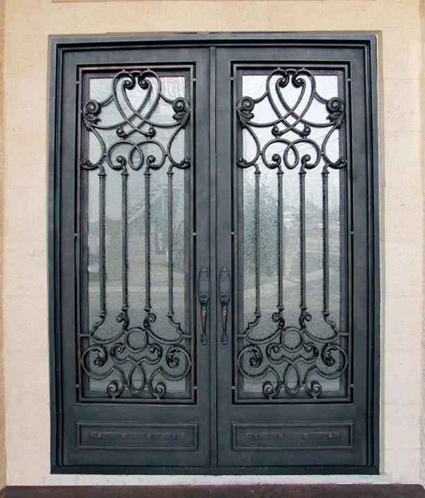 Porte fer forg id immeuble pinterest porte fer forg fer forg et portes for Porte en verre et fer forge