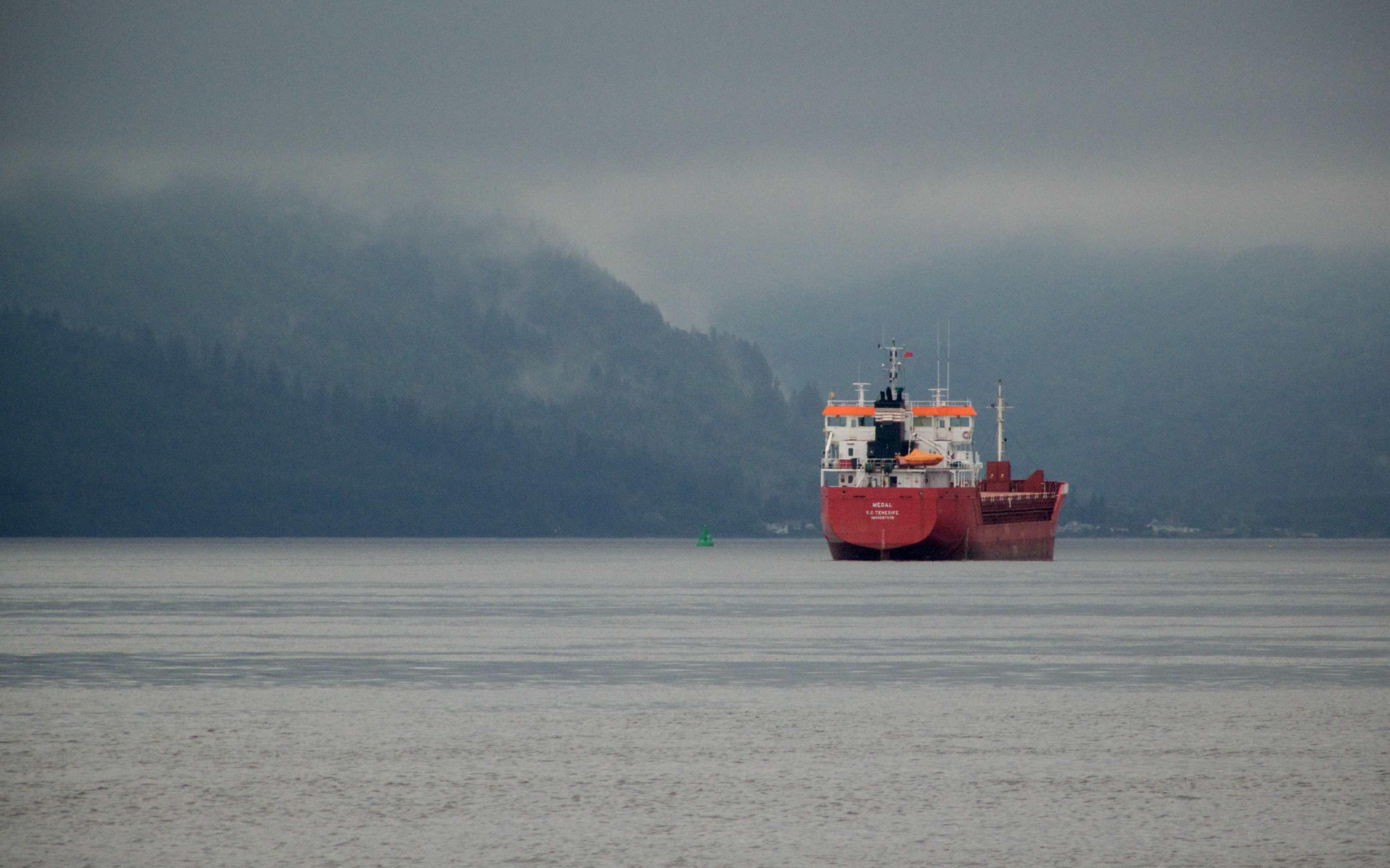 Ship entering Loch Long