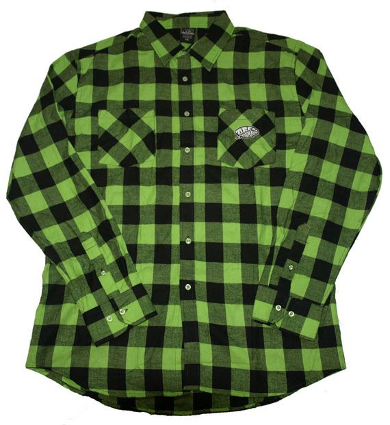 Green and black flannel jacket