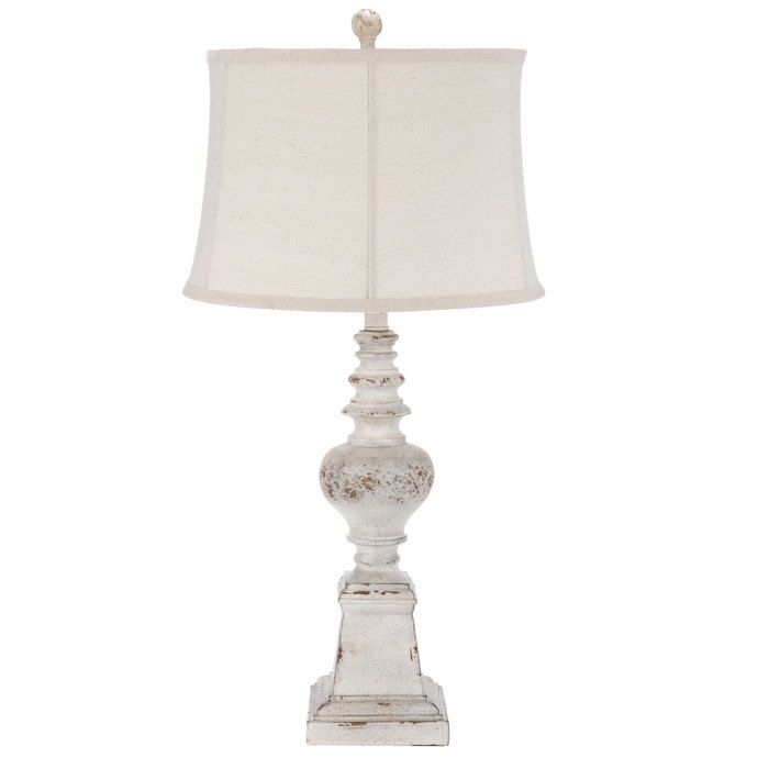 Distressed White Lamp with Linen Shade Full Lamp: Diameter: 15 ...