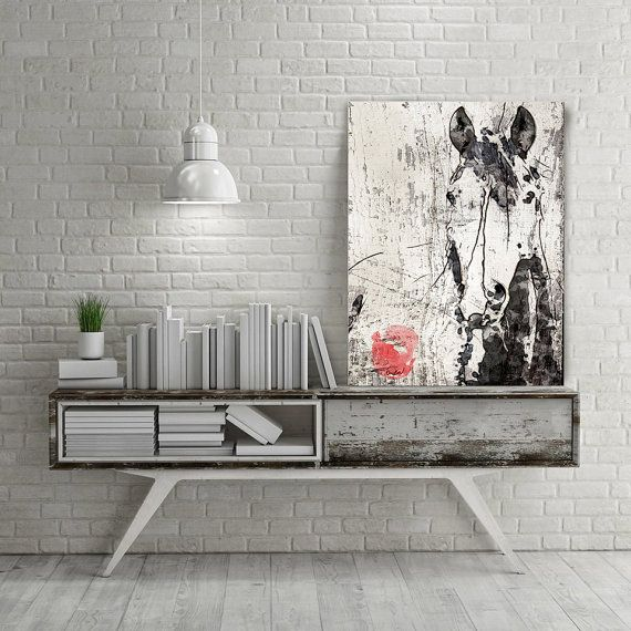 Extra large horse unique horse wall decor black white rustic horse large canvas art print up to 72 by irena orlov