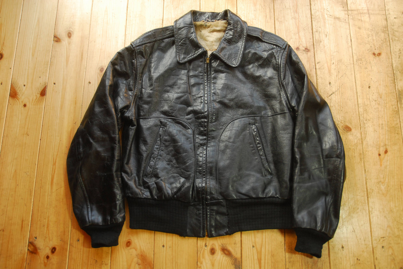 Leather American Vintage Black 1950's Sports Bomber Jacket tQdrsCh