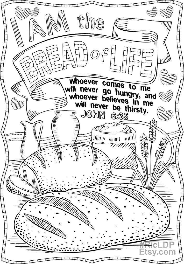 Set Of 2 Bible Coloring Pages John 15 5 And John 6 35 Etsy Bible Verse Coloring Page Bible Coloring Pages Scripture Coloring Sheets