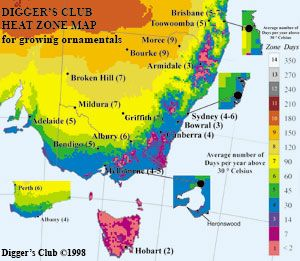 Heat zone map climate maps to help you choose the right for Gardening zones australia