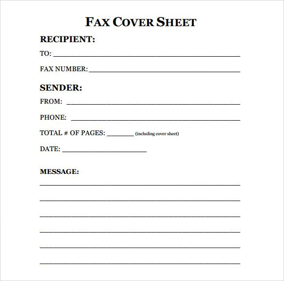 Free Fax Cover Sheet Template Format Example PDF Printable ...