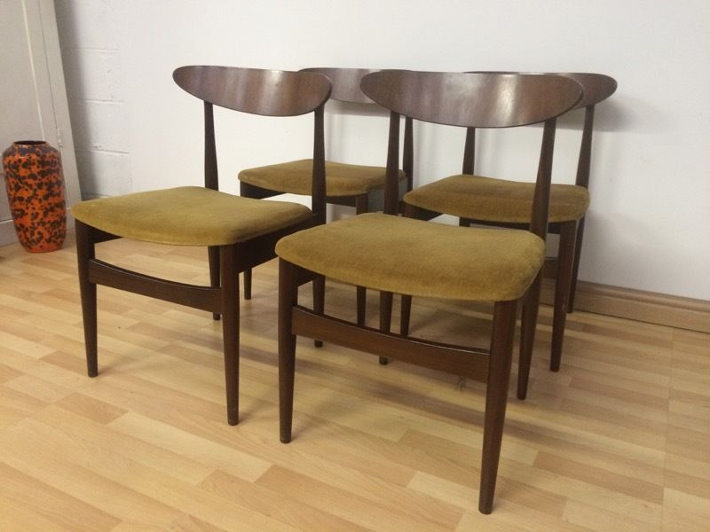 VINTAGE MID CENTURY 60S DANISH TEAK BUTTERFLY BACK DINING CHAIRS MUSTARD HEALS