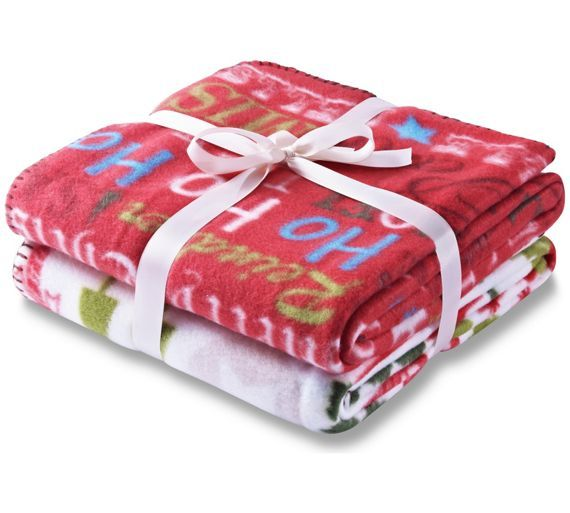 Catherine Lansfield Christmas Slogans Throw Twin Pack At Argos Co Uk Your Online For Throws Home Furnishings And Garden