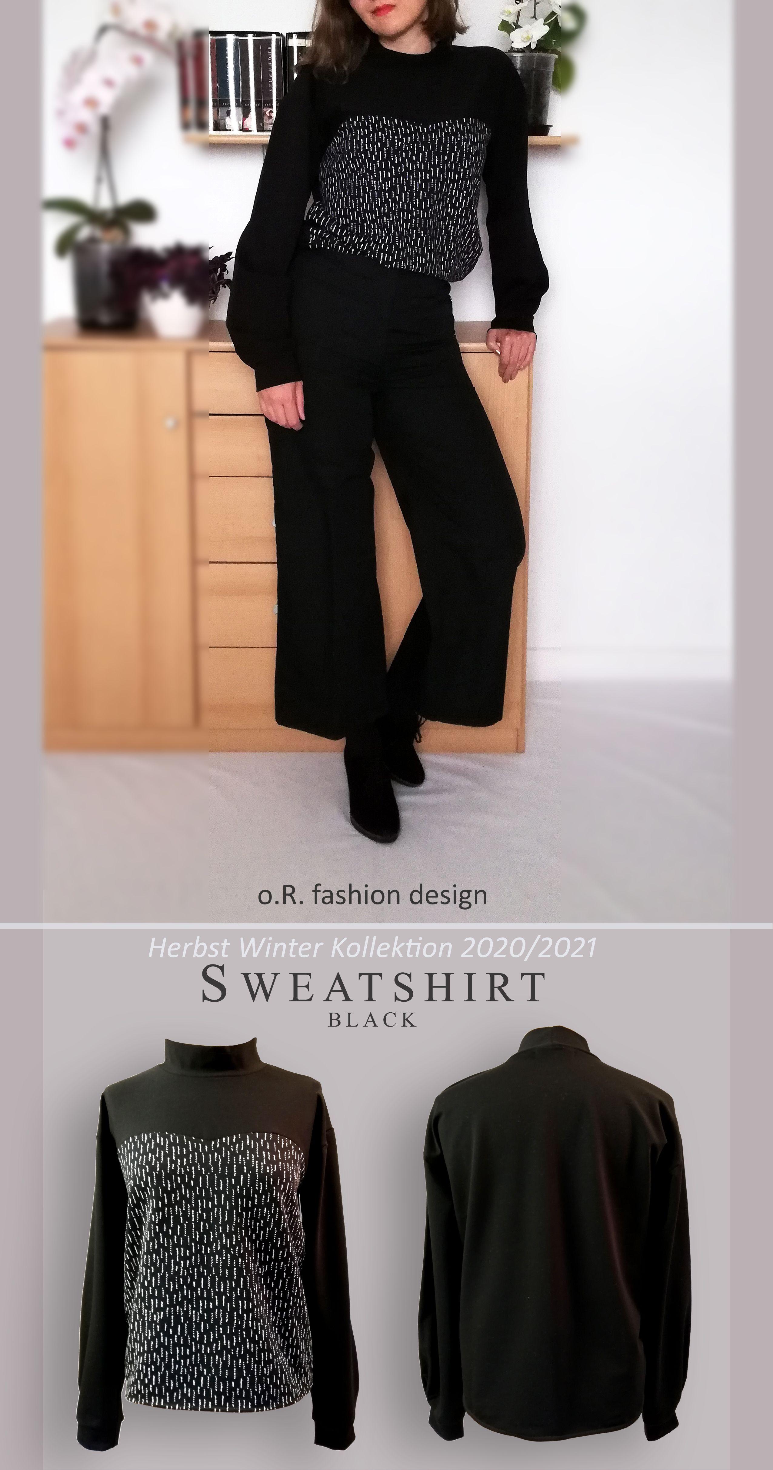 schwarz weißes sweatshirt, pulloverorfashiondesign in