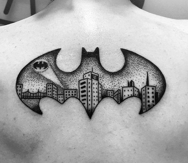 Dotwork Male Batman Symbol Upper Back Tattoo Ideas
