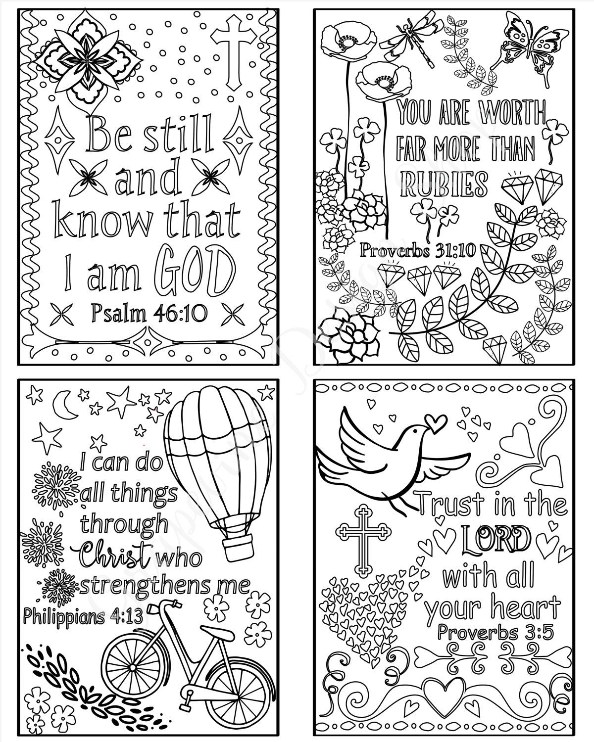 Coloring Scripture Cards - Bible Verse Cards - Set Of 8 Instant