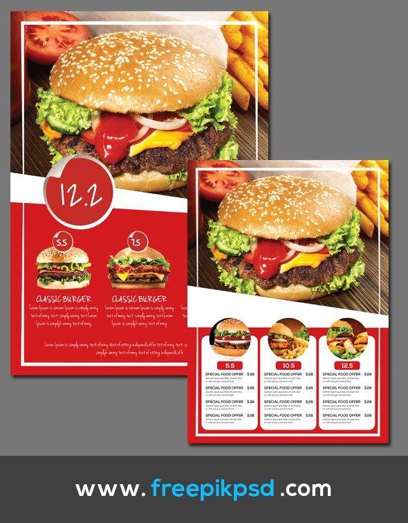 Burger Menu Template PSD Free Download Design Pinterest - free food menu template