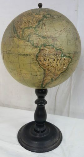 ancien globe terrestre bois platre xixe 19e napoleon iii barbot sonnet ikelmer l globes geo. Black Bedroom Furniture Sets. Home Design Ideas