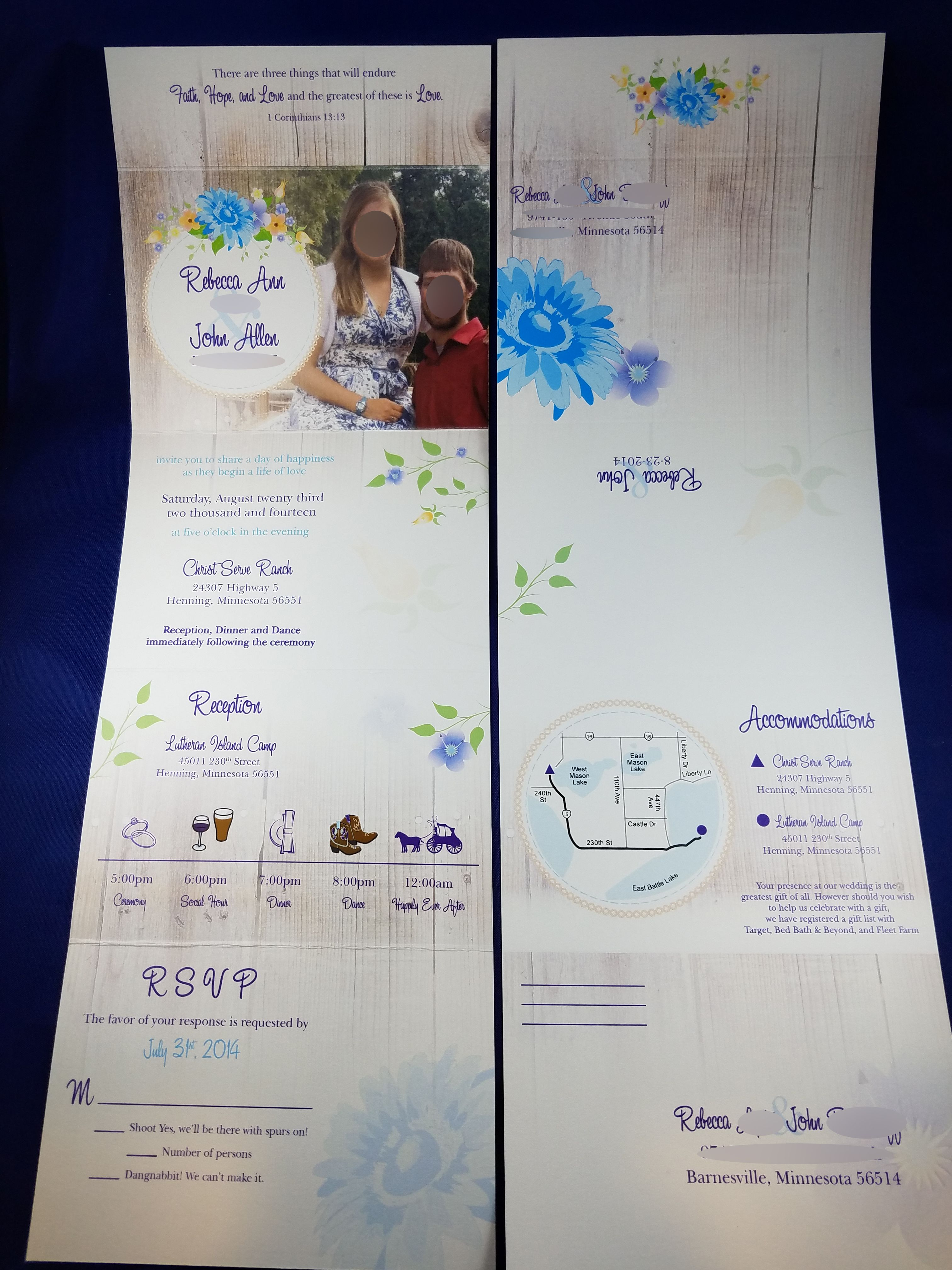 Blue Spring Flowers Themed Seal N Send Wedding Invitation With Tear Off Rsvp
