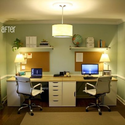 Two Desks Design Ideas Pictures Remodel And Decor Ikea Home Office Home Office Space Home Office Design