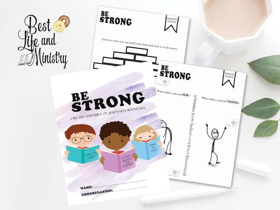 JW Be Strong workbook kids | printable be Strong assembly notebook