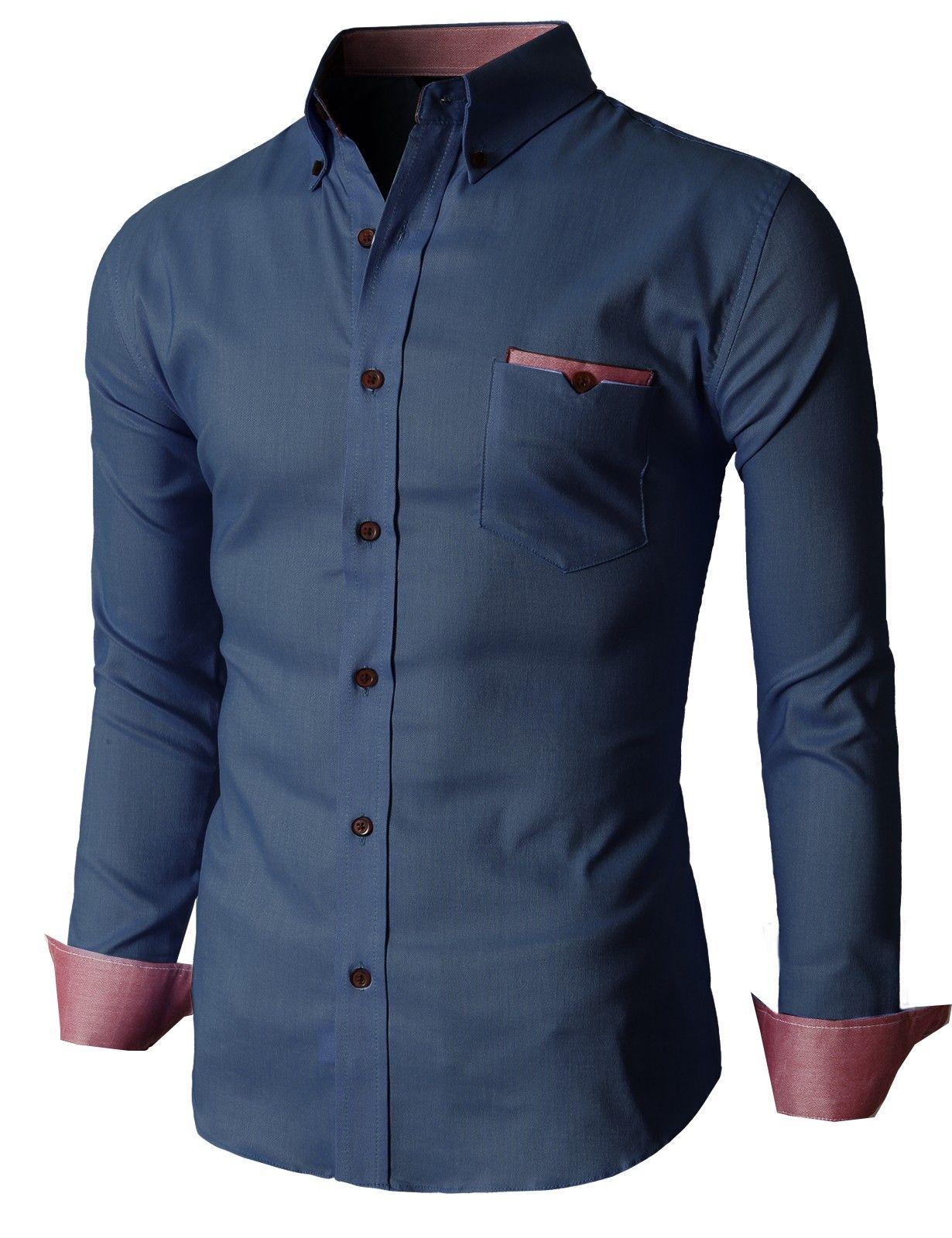 e6fa2f49bf8  35.99 Doublju Men s Oxford Shirts with Leather Point Pocket (KMTSTL0201)