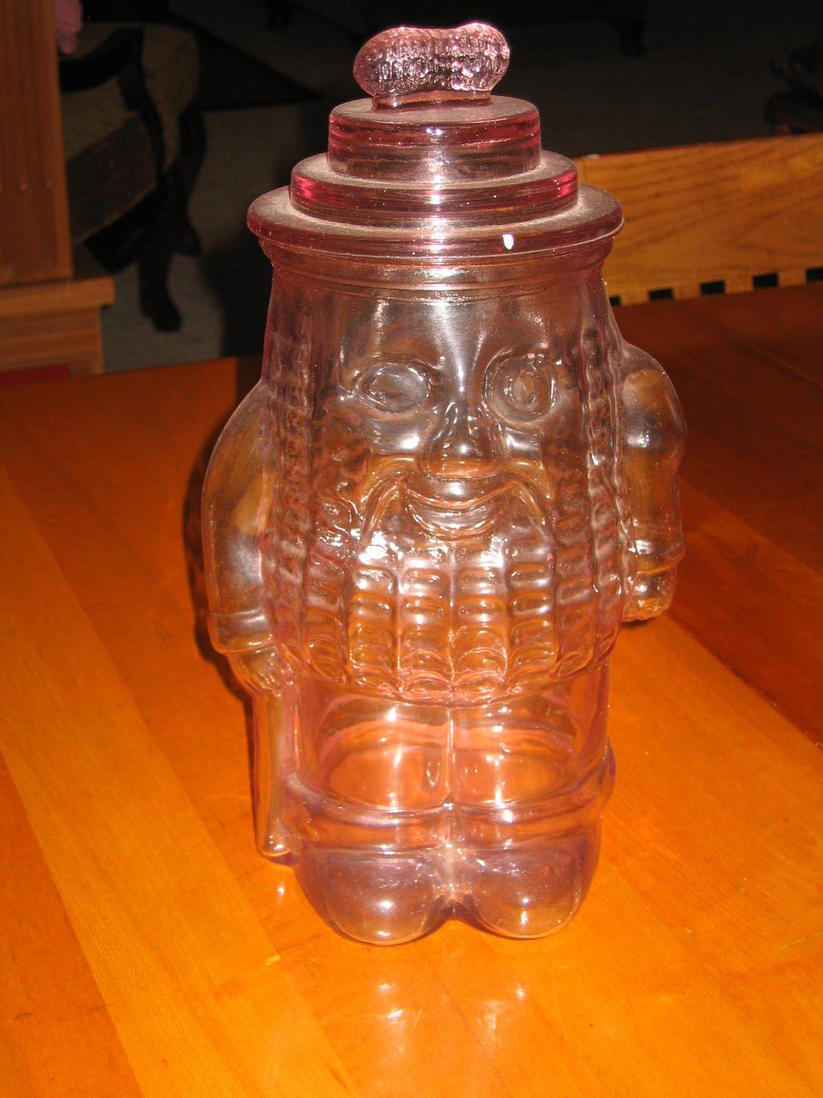 Peanut Jar Pink Glass Planter' Peanuts
