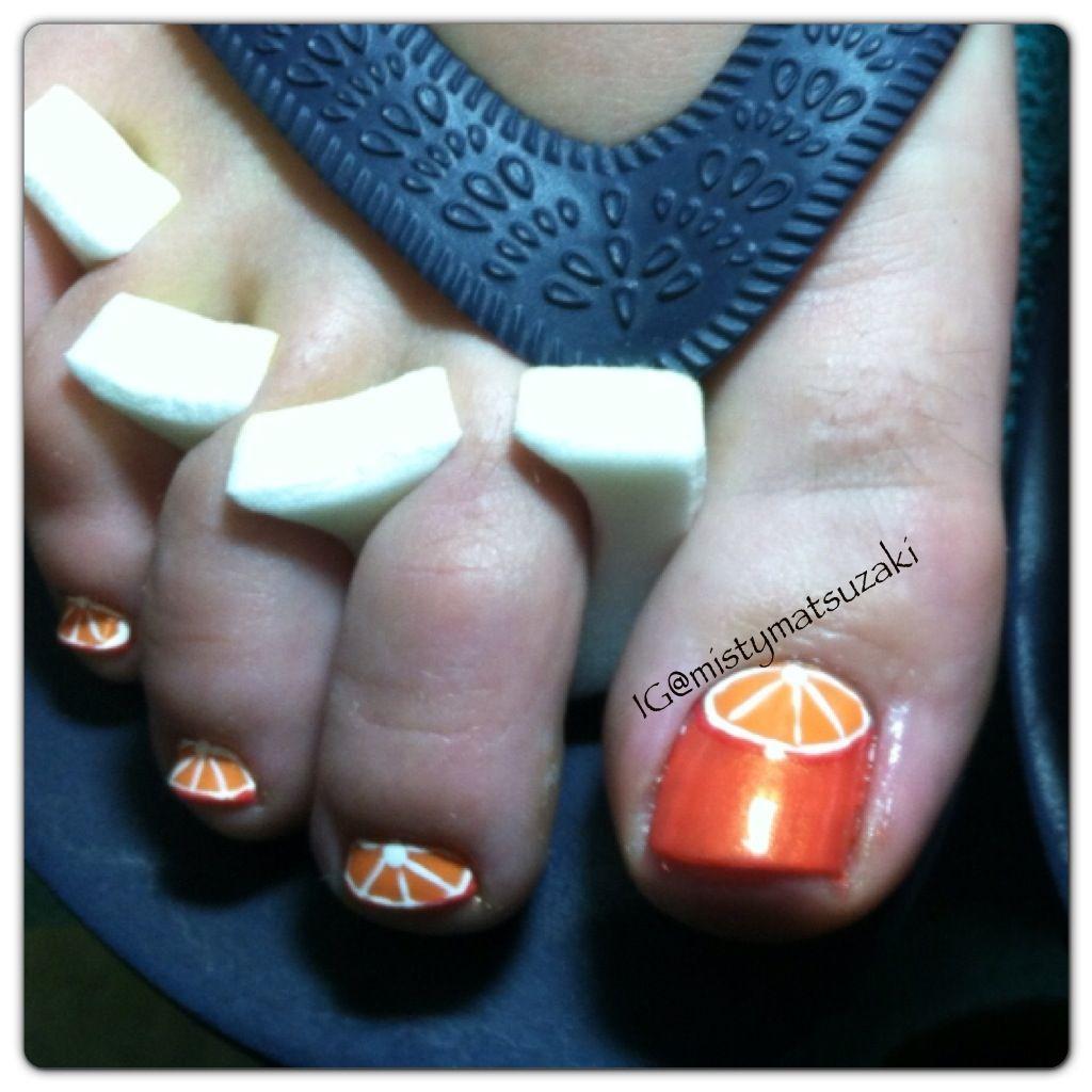 Orange summer nail art