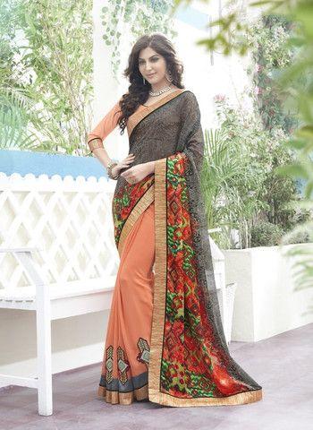 Peach & Gray Georgette Saree ,Indian Dresses - 1
