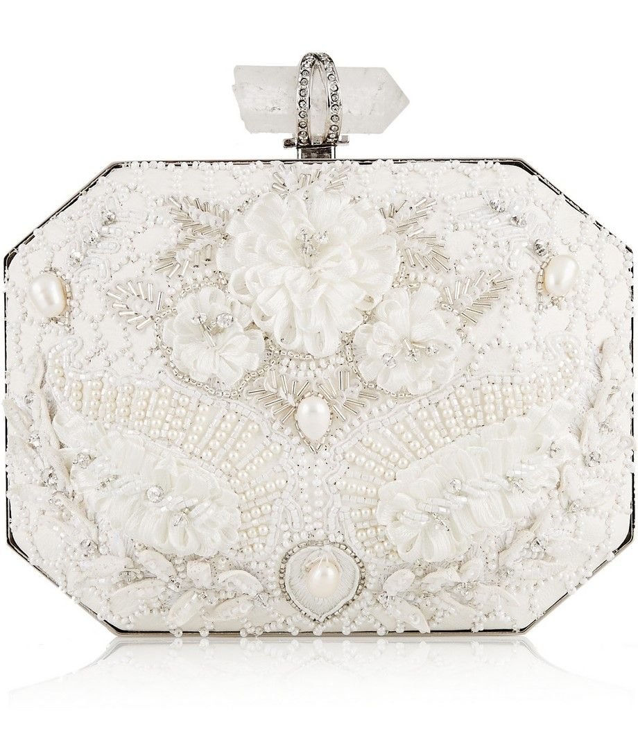 Beautiful Bridal Clutches And 5 Must Haves For Yours Bridal Clutch White Leather Handbags Embellished Clutch