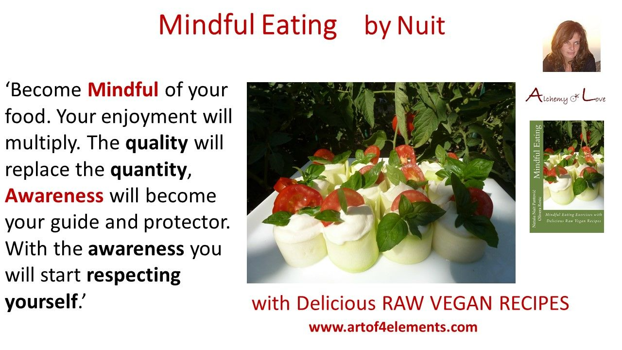Mindful Eating by Nuit Quotes about food and respect from Mindful Eating with Delicious Raw Vegan Recipes Book. #mindfulness #healthyeating #mindfuleating #quote #howto #eatmindfully