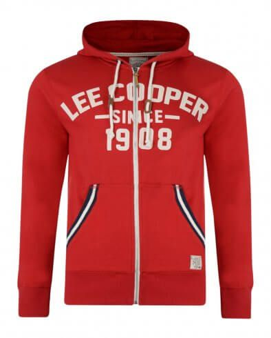 Lee Cooper Men's 1908 Frant Print Zip Up Hoodie Red | Hooded