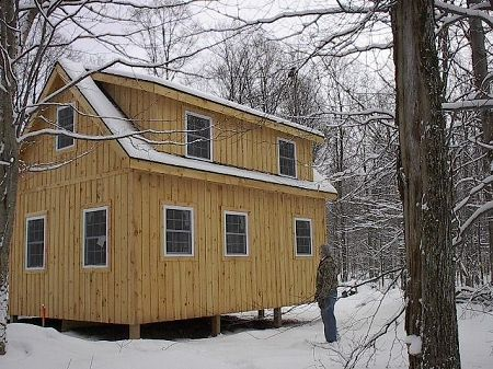 Adirondack Cabin Plans 16x24 with Cozy Loft and Front