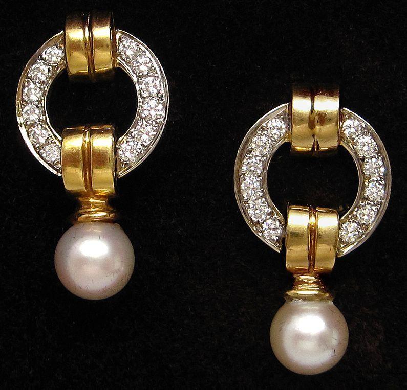 18K Gold 1.25ct Diamond Pearl Dangle Two Tone Earrings