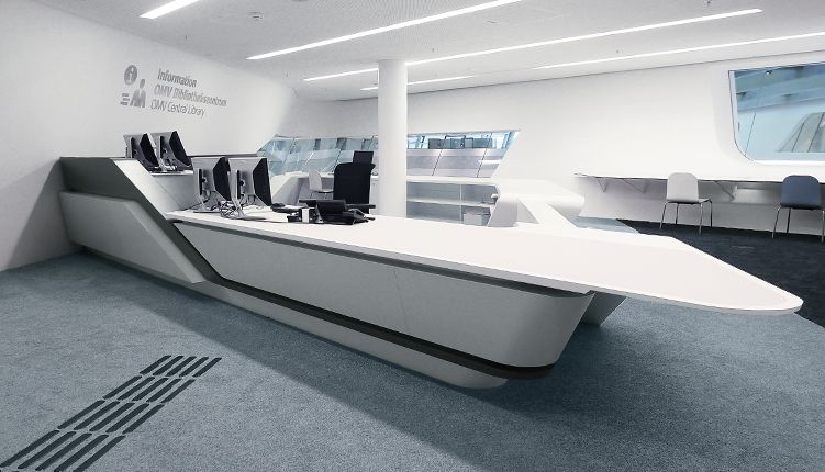 According To The Conceptual Design Of Zaha Hadid Architects Hasenkopf Manufactured Corian Counters For University Economics Vienna