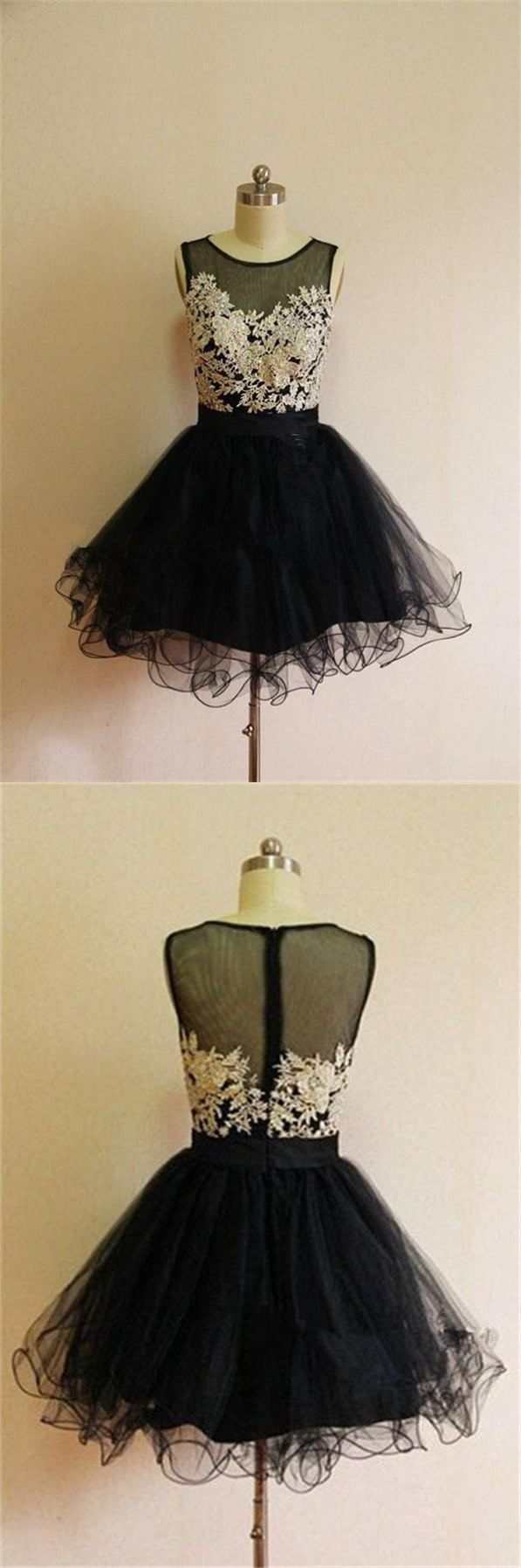 Black applique bodice homecoming dress lace short prom dress puffy