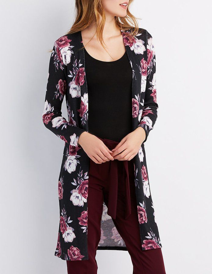 8ee089654 Floral Open-Front Duster Cardigan