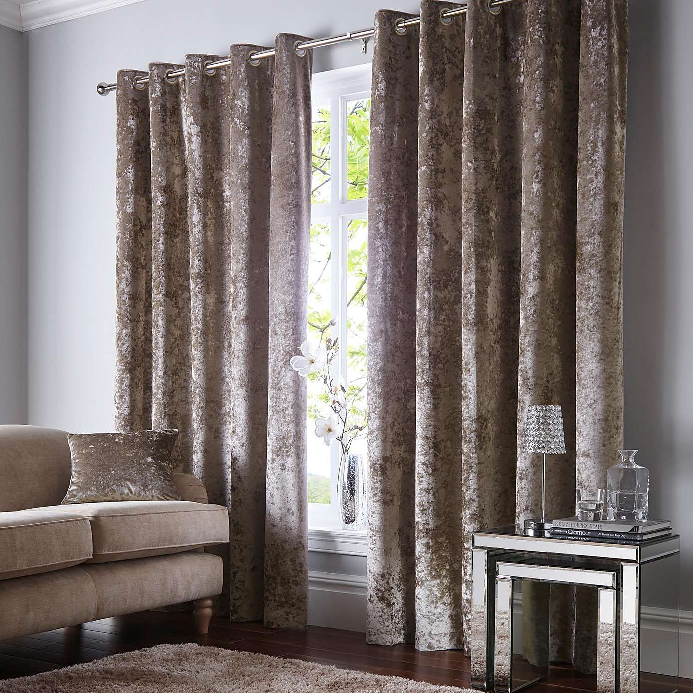 50. Double up curtains. 137 drop X 117 width. Crushed Velour ... for Double Eyelet Curtains  155sfw