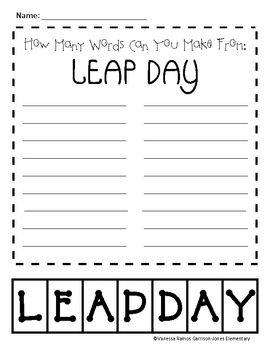 Leap Day Making Words | Making words, Leap day, Word work