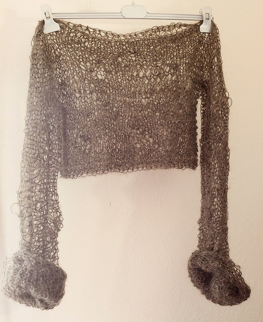 Brown crop top, loose knit, baby mohair, with extra long sleeves, lightweight, airy, sexy, off shoulder sweater by beWoolen on Etsy