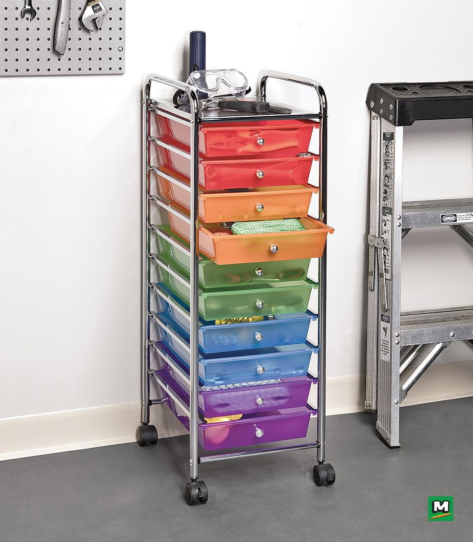 The Multicolored Honey Can Do 10 Drawer Rolling Storage Cart Is