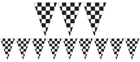 outdoor black & white checkered flag pennant banner 12ft - party, Powerpoint templates