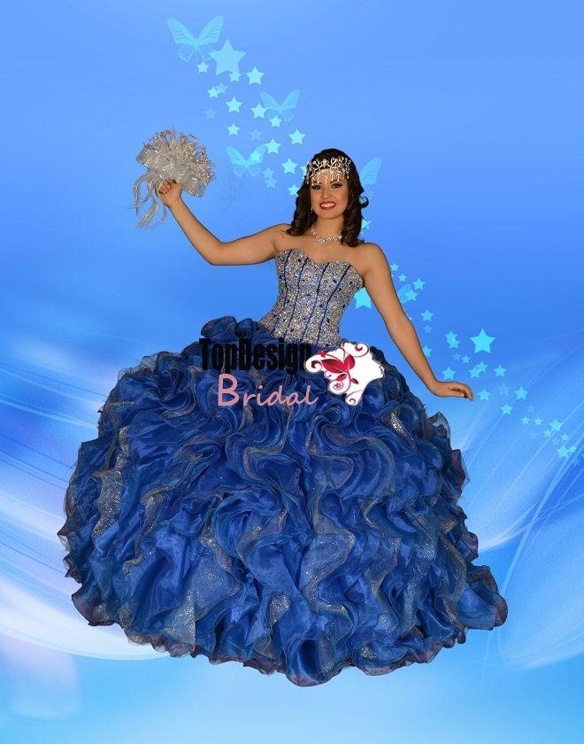 2014 new hot sparkling beading royal blue silver sequins organza ...