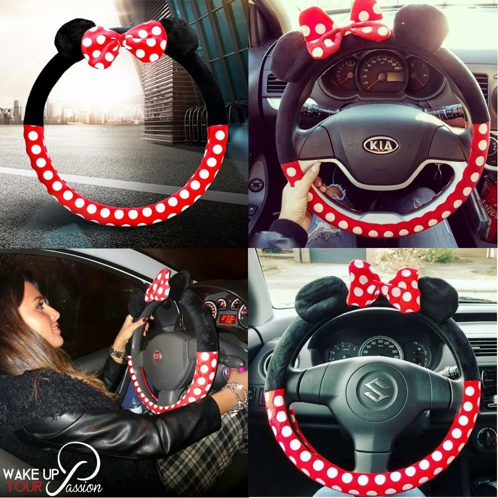 Disney Mickey Mouse Doll Toys Car Accessories Steering Wheel Cover Seat Cover