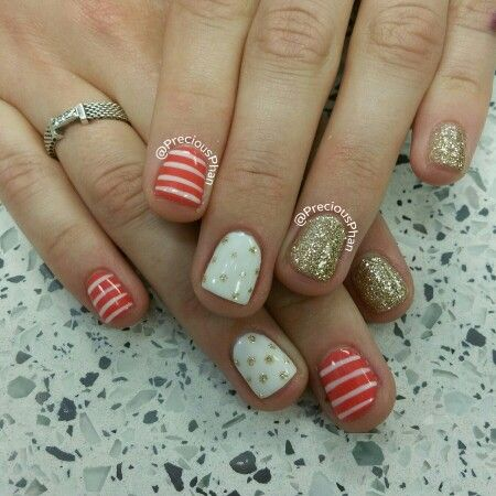 Coral white and gold nails :)