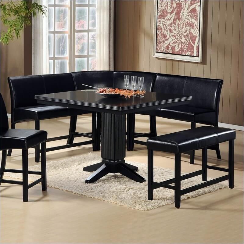 Delicieux This Sleek, Black Corner Dining Set Works As A Free Standing Unit Or Can Be  Placed In The Corner.