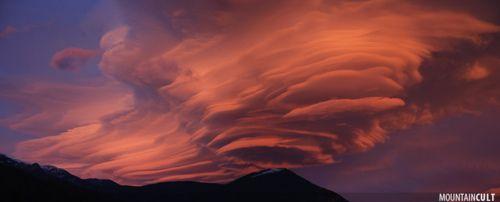 Lenticular clouds over La Seu d'Urgell, Spain