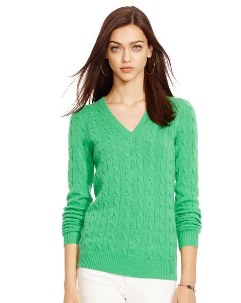 Cabled Cashmere V-Neck Sweater - Polo Ralph Lauren Cashmere - RalphLauren.com