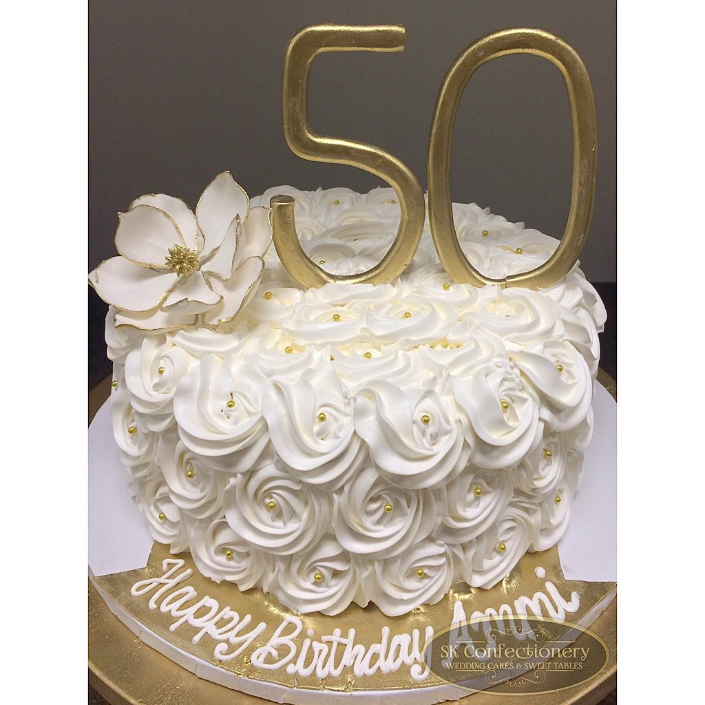 50th Birthday Celebration Cake For Mom Elegant And Classy With White Buttercream Rosettes Gold Pearls Detailing Super Simply